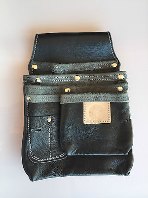 SPARTAN LEATHER 3.5 Row Tool Pouch  - Tool Belt/Nail Bag/Holder