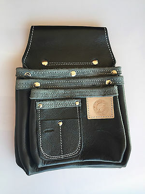 SPARTAN LEATHER Delux 3 Row Tool Pouch - Tool Belt/Nail Bag/Holder