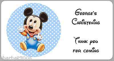 24 x Personalised Stickers Christening Baby Boy Mickey Mouse Labels