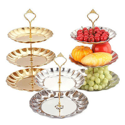 2-3 Layer Aluminum Silver Round Serving Display Cake Platter Food Stand Rack