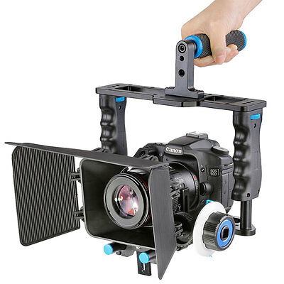 Video Camera Cage Rig + Follow Focus + Matte Box Grip Kit for DSLR Camcorder USA