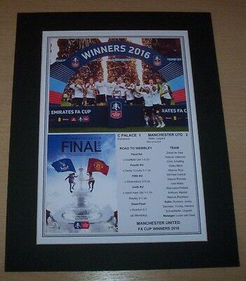 Manchester United - 2016 FA Cup Winners Print Mounted To A4