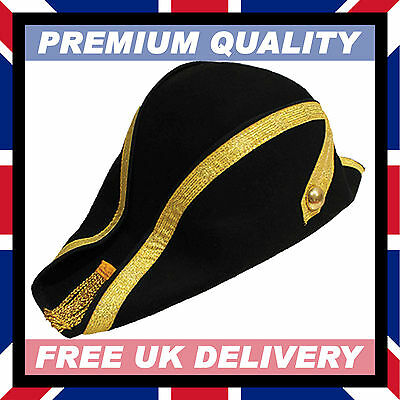 100% WOOL HAND MADE BICORN HAT • Soft Felt Military Naval Bicorne  15- b0df16bfacd6