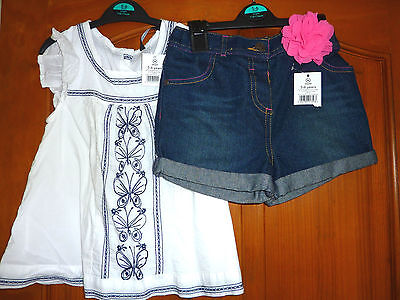 George summer denim shorts pink flower white butterfly embroidered top age 5-6