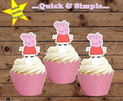 #579. Peppa Pig only EDIBLE wafer cupcake cake toppers standup
