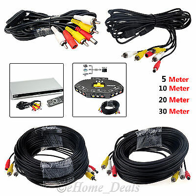 CCTV Security Camera DVR Phono RCA AV Audio Video DC Power Cable Plug 20M 30M