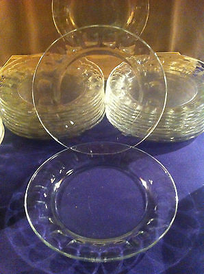 "Cardinal Acoroc France 01166 ROC Clear Glass Vintage 6"" Dessert Plates Set of 6"