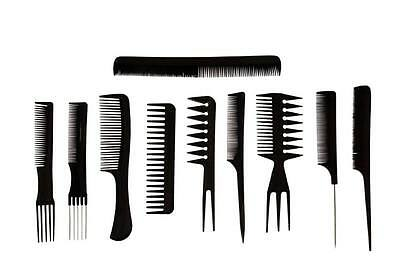 10 piece High Quality Hair Styling Comb Set Professional Black Brush Barbers new
