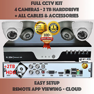 4x Camera + 2TB 4Ch DVR CCTV SECURITY SYSTEM KIT HDMI 960H 1080P HD Home Outdoor