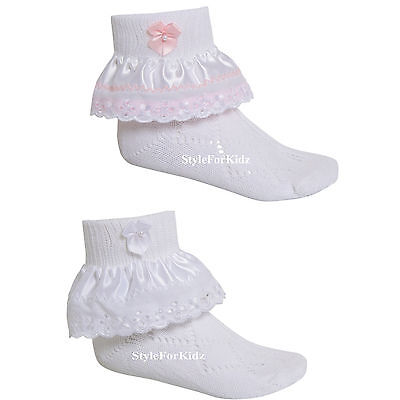 Baby Girls Frilly Socks White/Pink Bridesmaid Christening Lace Socks
