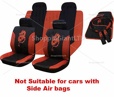 15Pc Red Black Dragon Style Embroidered Full Car Seat Cover Set + Floor Mats