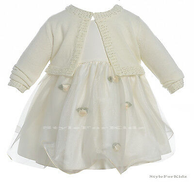 Baby Girl Ivory Christening Dress Flowergirl Wedding Bridesmaid Party Dresses