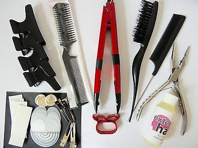 Pre Bonded Hot Fusion Iron connector Hair Extension kit and tools complete kit