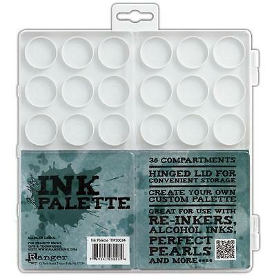 TIM HOLTZ Ink Palette 36 Compartments Clear Plastic Hinged Lid 4 Paint Ink Craft