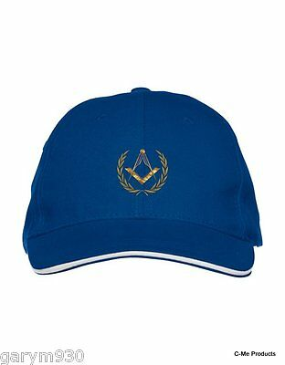Navy  Masonic Baseball Cap tastefully embroidered with Square and Compass design