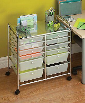 12 Drawer Cart Office Rolling Storage Organizer School Art Craft Supplies Mobile