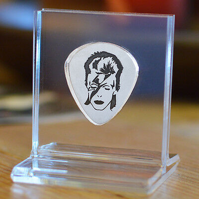 David Bowie Memorial Sterling Silver 925 Guitar Pick Personalized Standing