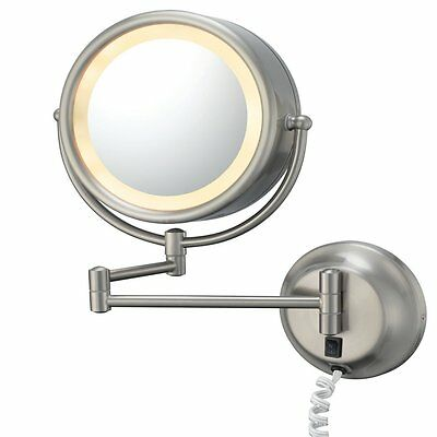 Kimball and Young 95375 Double Sided Wall Mirror Plug-In, Brushed Nickel