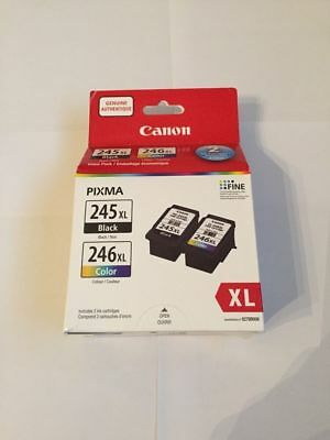 Genuine Canon OEM PG-245XL Black & CL-246X Color Ink Cartridges for MG2924 2922