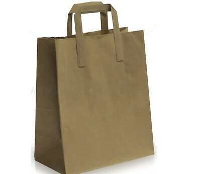 Kraft Paper SOS Food Carrier Bags With Flat Handles Party Takeaway Brown & White