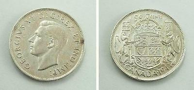 1944 Canada Fifty / 50 Cents Silver Coin - Narrow Date (ND) - Near 4