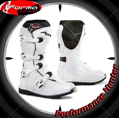 Bottes Chaussures Moto Forma Off Road Mx Cougar White Tg: 34