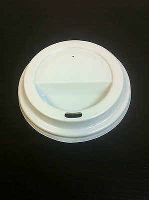 500Pcs 8 oz White Coffee Cups Dome Flat Lids Only Free Postage
