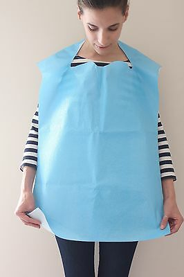 Case Of 500 Premium Disposable Adult Geriatirc Bibs Blue Free Shipping