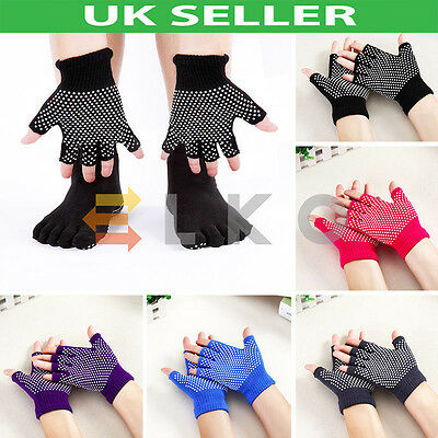 UK Yoga Pilates Fingerless Non Slip Grip Sticky Gloves Sports Exercise Equipment