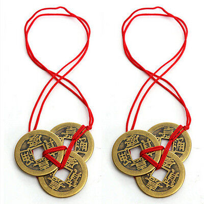 1 Set Of 3 Chinese Feng Shui Coins For Wealth And Success Lucky String Car Strap
