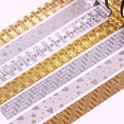 10M Glitter Silver Gold Washi Tape Paper Self Adhesive Sticky Craft Decoration