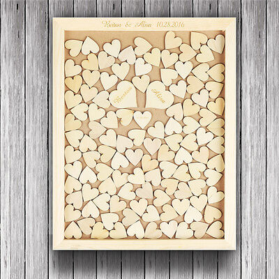 Personalized Rustic Drop Top Wooden Wedding Guest Book Frame 120 Pcs Wood Hearts