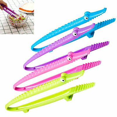 WOW Silicone Cooking Kitchen Tongs Food BBQ Salad Bacon Steak Bread Clip Clamp