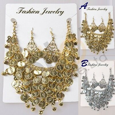 Necklace Eearrings Set Belly Dance Dancing Coin Bollywood Jewellery Accessories
