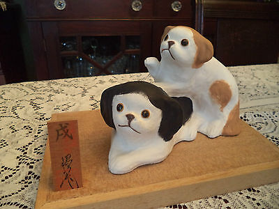 Adorable Large 2 Japanese Chin Dog Dogs Pair Hakata Figurine Statue Bisque