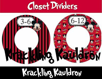 PRE-ASSEMBLED Custom Closet Dividers....Mickey Mouse 6 RINGS