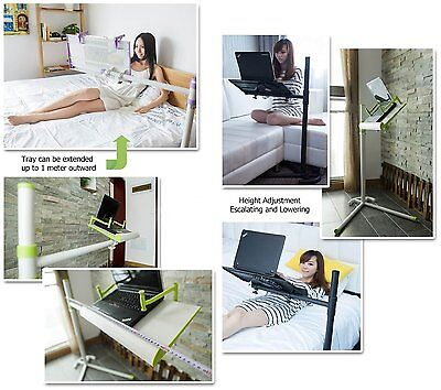 """Height adjusting bed/floor stand with fan for laptop( 10-17"""") /tablet /iPAD Pro"""