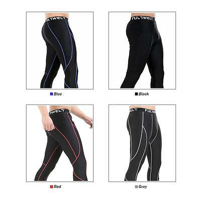 Men Sports Breathable Skin Tights Compression Base Under Layer Long Pants H2E1