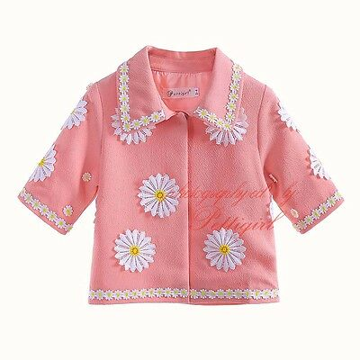 Kids Girls Daisy Jacket Coat Kids Flower Outwear Spring/Autumn Clothes Age 3-12