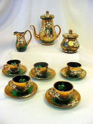 Unique Green  Luxury  Bohemian Czech Glass Mocca Set