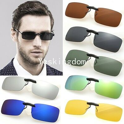 Fashion Polarized Day Night Vision Clip-on Lens Driving Glasses Sunglasses