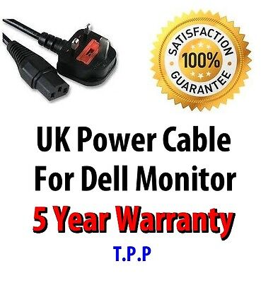 NEW UK Mains Power Lead Cable Cord For Dell Monitor  LCD Screen Computer Display
