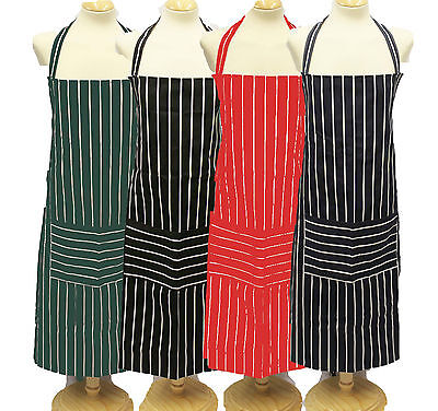 Large 100% cotton adult apron * Butchers stripe * BN and British made *