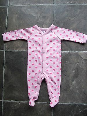 BNWT Baby Girl's Pink Hearts Cotton Knit Coverall/Onesie/Sleeper Size 000