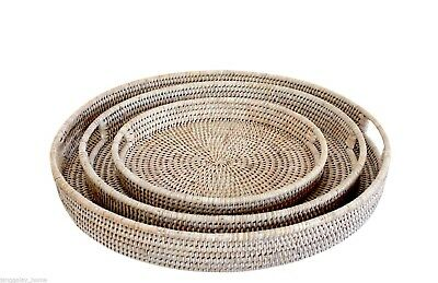 Rattan Tray Whitewash Round Handmade Woven Natural Entertaining Decor XL/L/M