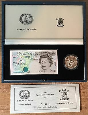 1990 Silver Proof Crown and New £5 Banknote Set in Presentation Box  (CW3)