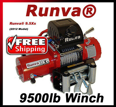 9500lb New Runva Off-Road 12V Towing Recovery Electric Winch Kit W/ Short Drum