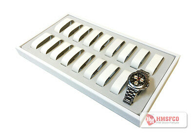 18-Slot Watch Display Tray, White, Leather - NEW