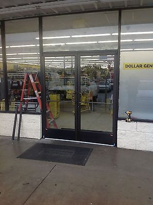 Pair Dark Bronze ADA Commercial Storefront Glass Entry Doors, New with Glass