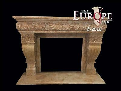 Beautiful Large Hand Carved Marble Estate  Fireplace Mantel - Jd603
